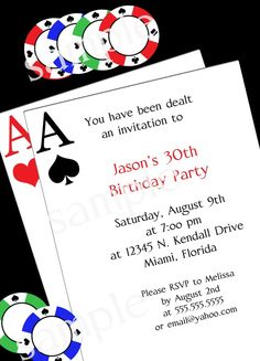 Poker Party Invitation -  DIY PRINTABLE Party INVITATION - 4x6 or 5x7