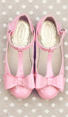 pink bow flower girl shoes