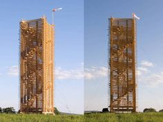 Giant Hand-Built Timber Tower Rises Out of the Czech Countrysi...