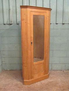 antique victorian waxed pine corner wardrobe c1880 - photo angle #5