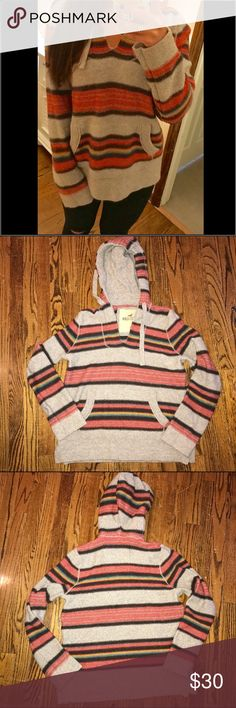 Hollister striped hooded sweater Oversized stripped hoodie sweater. Larger than it seems-usually I wear a medium but this small fits oversized. Gently used but perfect condition Hollister Sweaters