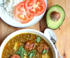 Sopa de Lentejas or Colombian Style Lentil Soup is a standard in a lot of Colombian kitchens, the Colombian chorizo sausage gives the soup extra flavor. Colombian Dishes, My Colombian Recipes, Colombian Cuisine, Colombian Lentils Recipe, Cuban Recipes, Comida Latina, Columbian Recipes, Lentil Soup Recipes, Lentil Meals