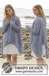 Free crochet pattern. Pattern category: Cardigans. Aran weight yarn. Features: Lace pattern, Long Sleeve, Oversized fit. Intermediate difficulty level.