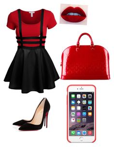 """red gal"" by bethanie-bl ❤ liked on Polyvore"