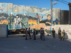Israeli Soldiers and Border Police stand in front of the Wall in Aida Camp. Palestine Art, Soldiers, Police, Camping, World, Painting, Heart, Campsite, Painting Art
