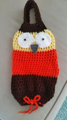 Owl crochet plastic  bag holder.....