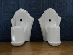 Set of two ceramic Art Deco wall sconces (wired) circa These were salvaged from a century limestone home in Kingston, ON, Canada. Art Deco Wall Lights, Light Art, Ceramic Art, Wall Sconces, Ceramics, Handmade, Etsy, Vintage, Ceramica