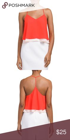 Vibrant orange layered tank top Brand new with tags size M cute vibrant orange top. Two tone, v neck which helps lengthen and narrow down your neck and draw the eyes down. Nordstrom Tops