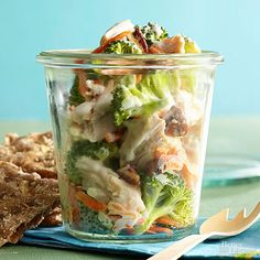 No side dishes needed with this quick-fix lunch. Mix equal amounts plain yogurt and ranch salad dressing. Toss in chopped cooked chicken, plus broccoli and shredded carrots. Craving crunch? Finish with chopped pecans./
