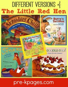 Different Versions of The Little Red Hen and printable picture recipes to go along with them