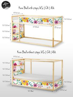 Decals for Kura Bed Ikea Vibrant floral Sticker Set PACK OF 5 Floral Reusable Garden Peel and Stick Removable Kids room decor Kura Cama Ikea, Kura Bed Hack, Ikea Loft Bed Hack, Deco Kids, Childrens Beds, Big Girl Rooms, Boy Rooms, Kids Rooms, Room Kids