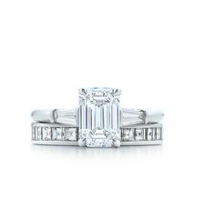 Tiffany & Co.   Emerald Cut With Tapered Baguettes   Channel set square diamond band