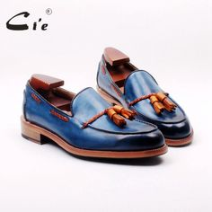 ci'e genuine calf leather outsole bespoke goodyear welted mixed blue/brown bespoke handmade tassels slip-on men's shoeloafer 166 Low Heel Shoes, Suede Shoes, Leather Shoes, Men's Shoes, Dress Shoes, Calf Leather, Leather Men, Brogues, Loafers