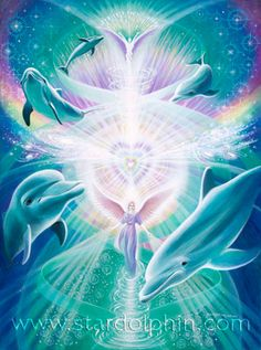 Eva Sullivan is a Visionary Painter and Environmentalist. Her paintings enter the realms of angels, dolphins, mystic creatures and fairies, lightworkers and goddesses. Dolphin Photos, Dolphin Art, Sirian Starseed, Dolphins Tattoo, Orcas, Art Graphique, Visionary Art, Fantasy Landscape, Fantastic Art