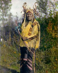"LONG TIME DOG 1908 NATIVE AMERICAN INDIAN 8X10"" HAND COLOR TINTED PHOTOGRAPH"