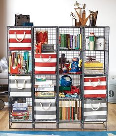 Clutter around the house? Try our Stripes Around the Cube Bins. They have natural rope handles and are available in five different colors so you can move them around and match your décor.