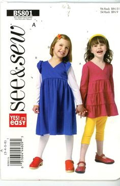 See & Sew by Butterick Girls Toddlers Top Dress Sewing Pattern B5801 Size 3 4 5 - Children