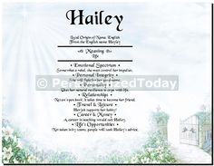 Heavenly Gate Secret Garden Daylight in The Spring First Name Decor Wall Art Print Customized With Any Name of Your Choice 8.5 x 11 Inches Unframed.