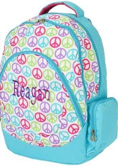 Monogrammed Peace Sign Backpack Monogram Backpack 5c7650b2d2d51