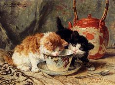 Tea Time by Henriette Ronner Knip (1821-1909)