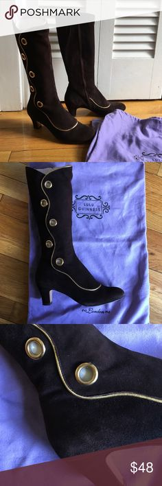 Brown suede boots with gold piping and rivets Bought in a small boutique in Providence, these brown suede boots are so unique with the gold piping and decorative grommets. Comes with dust bags. Originally $300 bought them on sale for $135. Wore once. I'm not a brown girl. They are special and need to appreciated. Lulu Guinness Shoes Heeled Boots