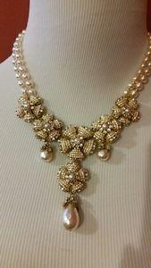 Huge Heavy Sign Miriam Haskell Baroque Pearl Rhinestone Flower Necklace Jewelry  | eBay