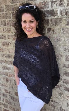 Ravelry: Cable Car Poncho pattern by Susan Barstein Poncho Knitting Patterns, Knitted Poncho, Knitting Designs, Knit Wrap, Pattern Library, Crochet Top, Ruffle Blouse, Ravelry, My Favorite Things