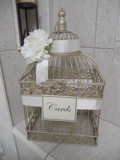 Wedding Card Box / Birdcage Wedding Card Holder / Gold Bird Cage For Wedding Gift Table. $68.00, via Etsy.