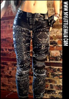 Spiked Behemoth pants with distressed denim, lace up crotch, silver rivets, studded pockets & silver spikes