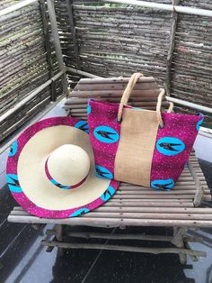 Wax and jute tote bag Wax Swallows pink Tote bag wax Canvas Jute Tote Bags, Pink Tote Bags, African Accessories, African Jewelry, Ankara Bags, African Hats, Diy Handbag, Craft Bags, African Print Fashion