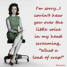 """I'm sorry, I couldn't hear you over the little voice in my head screaming, """"What a load of crap!"""""""