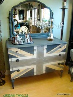Union Jack dresser in Shabby Paints Garfield Grey, Stunning Silver, Worn White, Bold Gold, and Pearl Vax