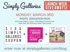 """Have a DSLR, but don't really know what you're doing with it? Want to learn how to edit your images like a pro? You'll want to enter today's Simply Galleries Launch Giveaway - """"Kickin' Auto"""" and """"Photoshop Fanatic"""" photography courses from Photographers Connection!   http://www.simplygalleries.com/tag/launch-giveaway/"""