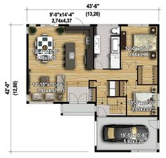 Two Bedrooms with a Contemporary Vibe - floor plan - Main Level Interior Decorating Tips, Small House Decorating, Home Interior Design, Decorating Ideas, Small House Plans, House Floor Plans, Two Bedroom, Bedrooms, Contemporary House Plans