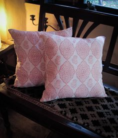 A beautifully simple and elegant hand block printed cushion cover from the village of Sanganer, India. Cushion cover is and reversible with a hidden zip. Burnt Orange, Cushion Covers, Cushions, Throw Pillows, Elegant, Simple, Bed, Prints, India