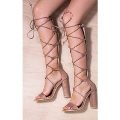 SpyLoveBuy Jenn Knee High Block Heel Gladiator Sandals Shoes   Brown... ($36) ❤ liked on Polyvore featuring shoes, sandals, suede lace up sandals, brown sandals, brown suede shoes, block heel sandals and gladiator sandals
