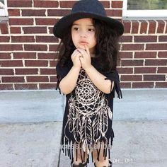 2017 baby girl party dress children frocks designs in summer INS hot selling summer Tassel dress girls black skirt baby summer