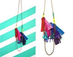 Leather Bib Necklace Rainbow Fringe Strokes by BooandBooFactory, $62.00