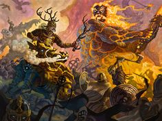 The Norse God Freyr rides upon Gullinbursti, the golden boar, into battle at Ragnarok, but behind him approaches his doom, Surt the mighty giant king of Muspelheim, the land of fire. Freyr's Last Stand by samflegal