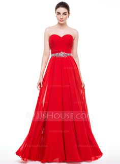 A-Line Princess Sweetheart Floor-Length Ruffle Beading Sequins Zipper Up  Strapless Sleeveless No Red Spring Summer Fall General Plus Chiffon Prom  Dress 8398bc3d9f906
