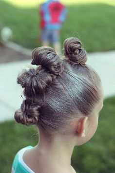 Brown Haired Bliss - Little girl hairstyles. Crazy hair day ~ bun mohawk