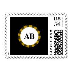 Black monogram design postage stamp
