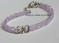 Pink seed bead anklet with Swarovski accented by Jewelry by Jamie Lyn on Etsy
