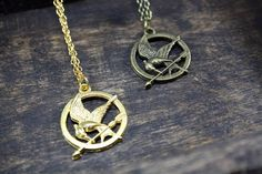 Mockingjay necklace  hunger games necklace by Taypop on Etsy