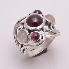 925 Sterling Silver Ring, Natural Rose Quartz, Garnet Gemstone Jewelry CR2166 #Handmade #Fashion
