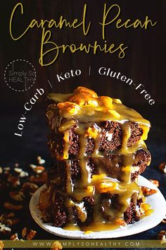 Love caramel and chocolate? These Caramel Pecan Brownies are a MUST! These Low-Carb Caramel Pecan Brownies seem indulgent, but this recipe can be a part of low-carb, gluten free, Atkins, ketogenic, lc/hf, and Banting diets. 🍫😋❤️ #lowcarb #keto #glutenfree #Atkins #Banting #Bantingdiets #lowcarbdessert #lowcarbsweets #ketosweets #ketodessert