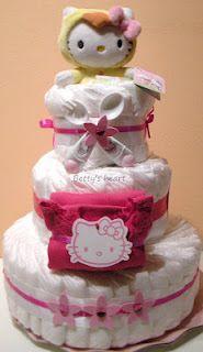 Girl Diaper cake - Torta di pannolini Hello Kitty