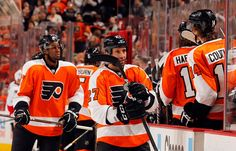 Max Talbot and Wayne Simmonds after Max's goal on 3/31/12