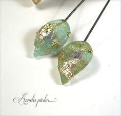 Handmade lampwork glass headpins lampwork leaf by Annelibeads