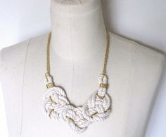 nautical knot white rope statement necklace with gold chain. $50.00, via Etsy.    Love it!